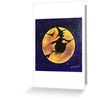 Yellow Moon Witch Greeting Card