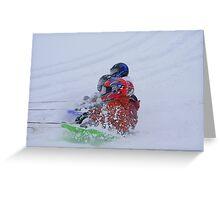 Sledding By Snowmobile Greeting Card