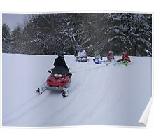 Snowmobile sledding Poster