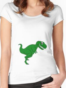 Cartoon Dino Women's Fitted Scoop T-Shirt