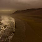 Misty Day - Rhossili Beach Cliffs by digihill