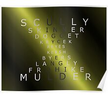 x-files - The Characters - Gold Poster