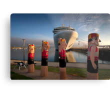 Bollards and Silver Spirit - Geelong Metal Print