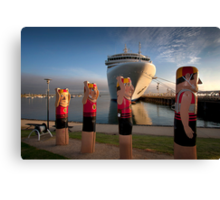 Bollards and Silver Spirit - Geelong Canvas Print