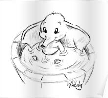 Dumbo in the Tub Sketch Poster