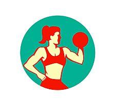 Female Lifting Dumbbell Circle Retro Photographic Print