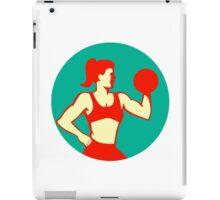 Female Lifting Dumbbell Circle Retro iPad Case/Skin