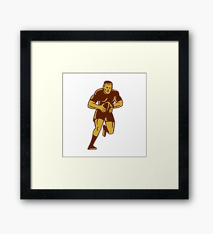 Rugby Player Running Ball Woodcut Framed Print