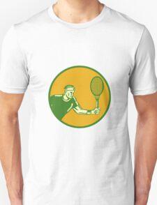 Tennis Player Forehand Circle Woodcut T-Shirt
