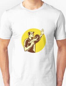 Worker Holding Megaphone Circle Woodcut Unisex T-Shirt