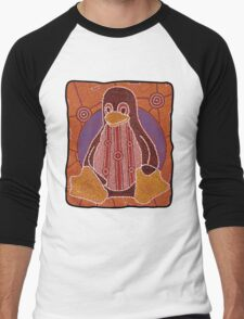 Tux (Solid background) Men's Baseball ¾ T-Shirt