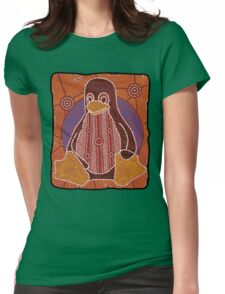 Tux (Solid background) Womens Fitted T-Shirt