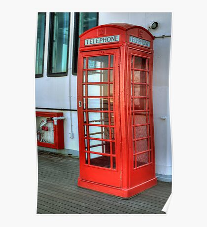 Vintage Telephone Booth on the Queen Mary (Long Beach, California) Poster