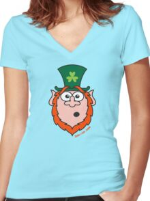 St Paddy's Day Surprised Leprechaun Women's Fitted V-Neck T-Shirt