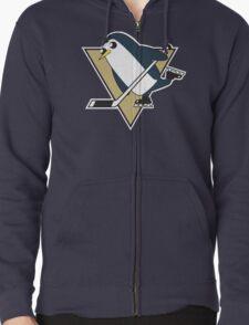 Pittsburgh Penguins x Gunther Mashup - Gunther Playing Hockey Logo Mixup Zipped Hoodie