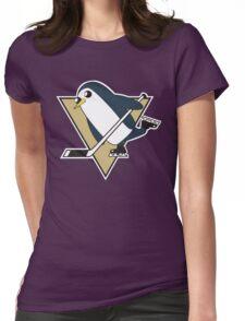 Pittsburgh Penguins x Gunther Mashup - Gunther Playing Hockey Logo Mixup Womens Fitted T-Shirt