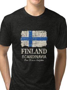 Finland Flag - Vintage Look Tri-blend T-Shirt