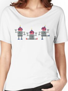 ROBOT x 3 - red + blue Women's Relaxed Fit T-Shirt