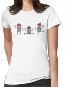 ROBOT x 3 - red + blue Womens Fitted T-Shirt