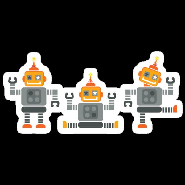ROBOT x 3 - orange by Kat Massard