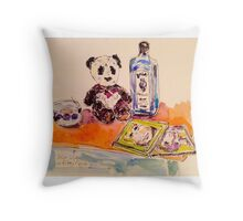 Panda with gin on Friday night Throw Pillow