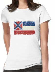 U.S. State Mississippi Flag - Vintage Look Womens Fitted T-Shirt
