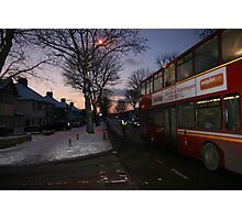 Buses in the winter snow@ nightime Photographic Print