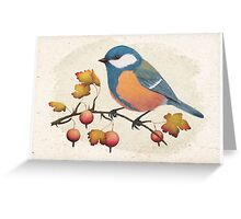 Chickadee on a branch of gooseberries Greeting Card
