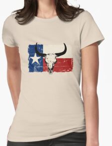 U.S. State Texas Bull Skull Flag - Vintage Look Womens Fitted T-Shirt