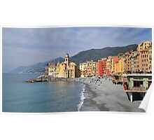 First sun on Camogli's beach Poster
