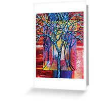 'Blue Trees in an Abstract Forest' Greeting Card