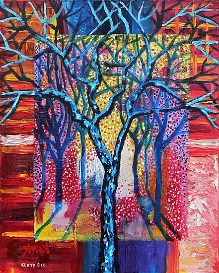 'Blue Trees in an Abstract Forest' by Jerry Kirk