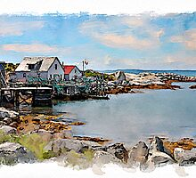 Indian Harbour watercolour by PhotosByHealy