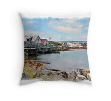 Indian Harbour watercolour Throw Pillow