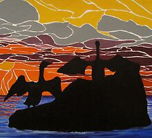 Sea birds basking at sunrise by Dorothy ROWNTREE