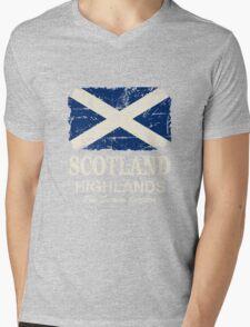 Scotland Flag - Vintage Look Mens V-Neck T-Shirt