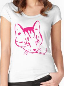 Party Cat (Pink on Yellow) Women's Fitted Scoop T-Shirt