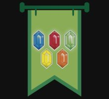 BANNER CREST SIGIL Green with 5 jewels rupees Blue, red, green and orange One Piece - Short Sleeve