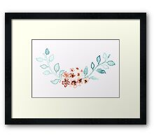 Watercolor floral indie wreath frame. Watercolor floral composition Framed Print