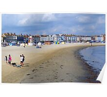 Family at Weymouth Beach. Dorset UK Poster
