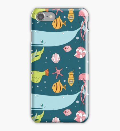 Seamless pattern with underwater scene iPhone Case/Skin