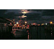 Moon Over Galilee - Rhode Island Photographic Print