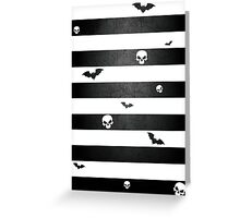 Halloween Stripes with Skulls and Bats Greeting Card