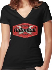 Rockbell Automail Repair Women's Fitted V-Neck T-Shirt