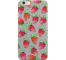 Red Watercolor Strawberries on Black & White Dots iPhone Case/Skin