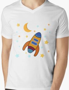 Space Rocket Mens V-Neck T-Shirt