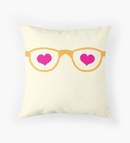 cute geeky eye glasses with love hearts Throw Pillow