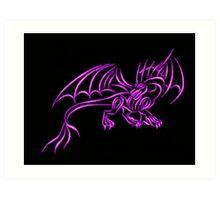 Neon Pink Flame Dragon Art Print
