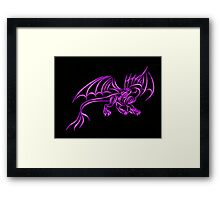 Neon Pink Flame Dragon Framed Print