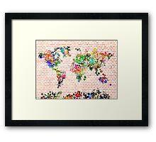 world map floral 1 Framed Print